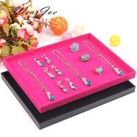 Protable Large Capacity Jewellery Trinkets Storage Empty Velvet Tray Ring Earring Bracelet Pendant Display Box Jewelry