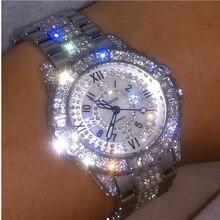 Reloj de cerámica de lujo para mujer, cronógrafo femenino de acero, oro rosa, diamantes de imitación, pulsera informal de cuarzo