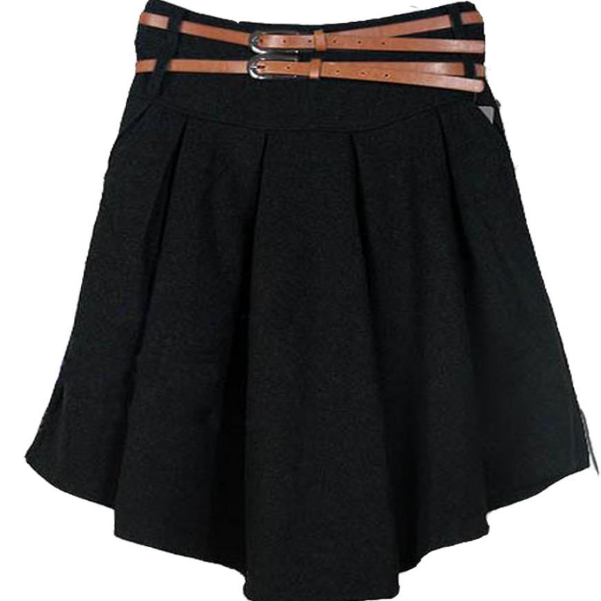 new Woolen skirt Women Fashion Pleated Skirt knee length plus size XXXL