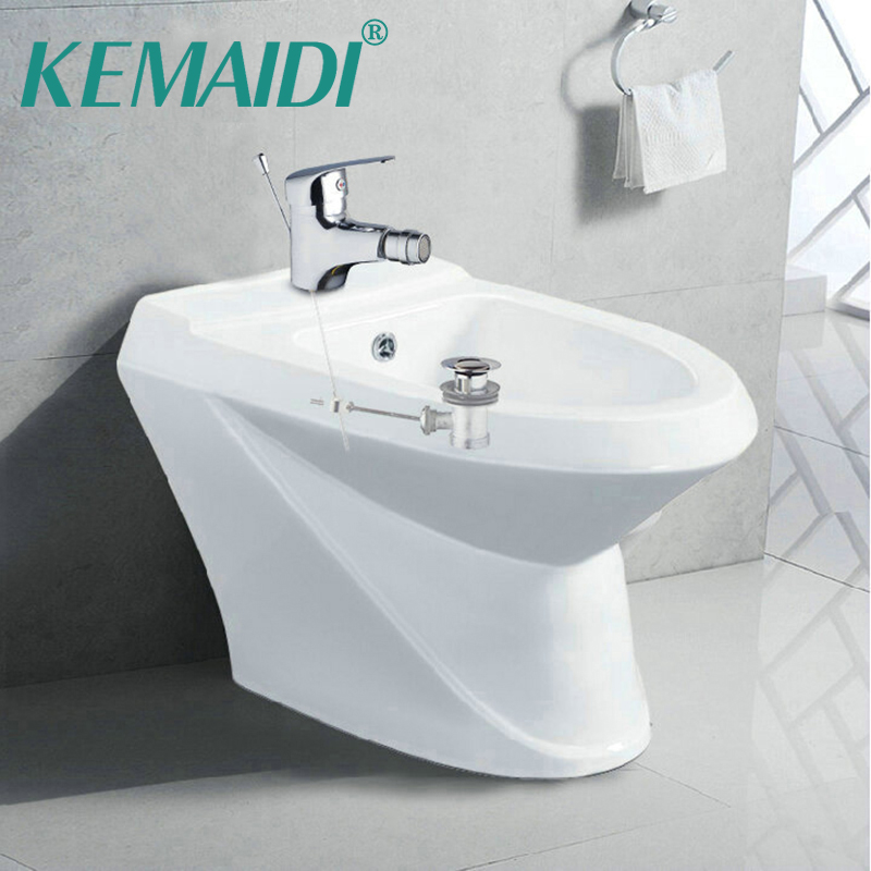 KEMAIDI  Bidet Faucets Torneira Woman Bathroom Faucet +Pop Up Drain Deck Mounted Chrome Basin Sink Faucets Mixers Tap