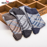 Seven7 Brand Socks 3 Pairs Set Men Casual Socks Classic Solid Color Plaid Pattern Comfortable Breathable