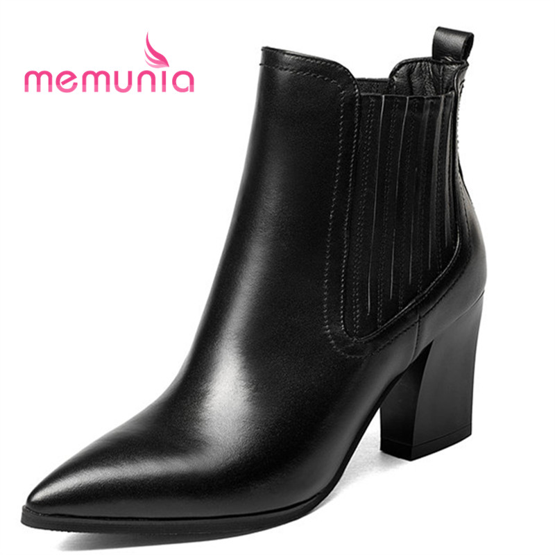 MEMUNIA 2018 new arrive ankle boots for women simple pleated fashion boots high heels pointed toe winter boots femaleMEMUNIA 2018 new arrive ankle boots for women simple pleated fashion boots high heels pointed toe winter boots female