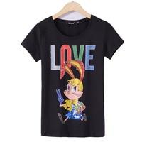2018 Summer Elegant T Shirt Women Rabbit Diamond Sequins T Shirt Womens Fashion New Top Tee