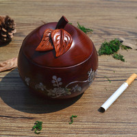 Rosewood Ashtray Fireproofing Apple Shape with Cover European Creative Ash Tray Club Hotel Restaurant Decor Smoking Set