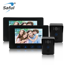 Buy Saful 7″ Color Screen Wired Video Door Phone Intercom System Night vision unlock function 2 Waterproof Door Camera + 2 Monitor