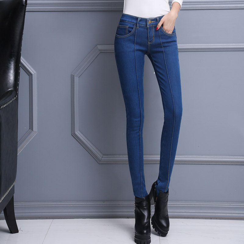 ФОТО New Design Velvet Warm Winter Boot Cut Pencil Trousers Middle Waist Elastic female skinny jeans AD9842