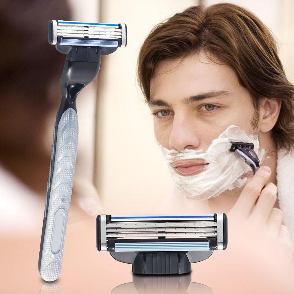 8Pcs set 3 Layers Razors Blades For Male Face Shaving Standard Manual Beard Blade Men Razors Shaver lame de rasoir Drop Shipping in Razor from Beauty Health