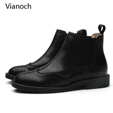 Vianoch New Fashion Womens Ankle Chelsea Boots Casual Flats Shoes Slip On Shoe Black Lady wo1808155