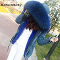 MAOMAOKONG new Cold winter jacket coat women real fur coat big raccoon Fur collar hooded thick warm short denim Parkas