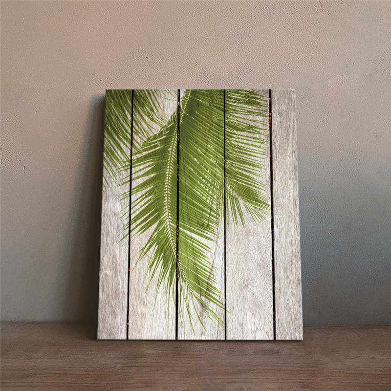 Home Wall Decor Decorative Painting Palm Tree Leaf Fake Wood Board