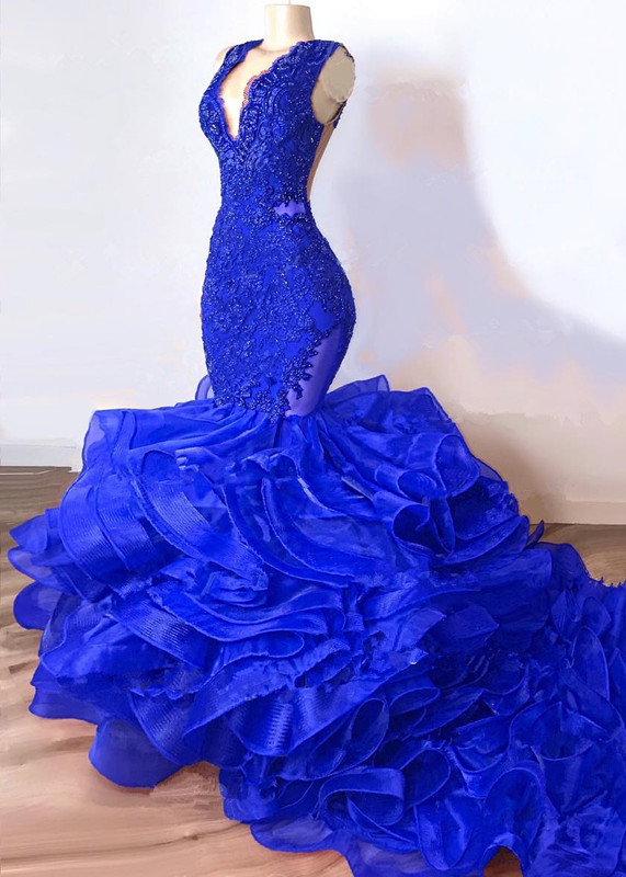 Gorgeous Royal Blue Mermaid Prom Dresses 2019 Luxury Lace Beaded Ruffles Chapel Ruffles Train African Trumpet Evening Gowns