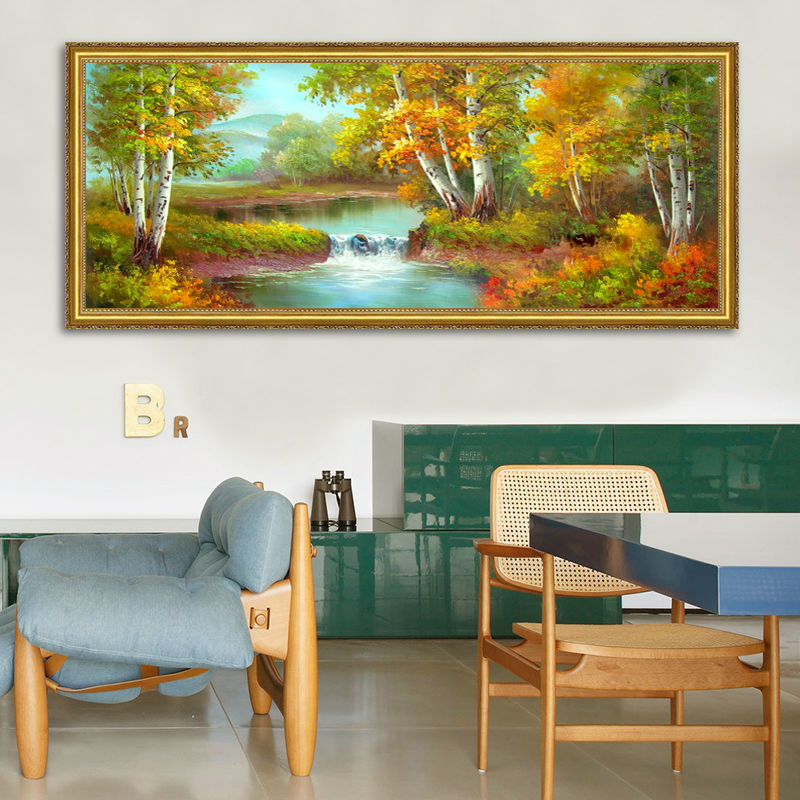 Artist sales hand painted oil painting on canvas golden season Birch trees by the river home decoration big wall art on canvas ...