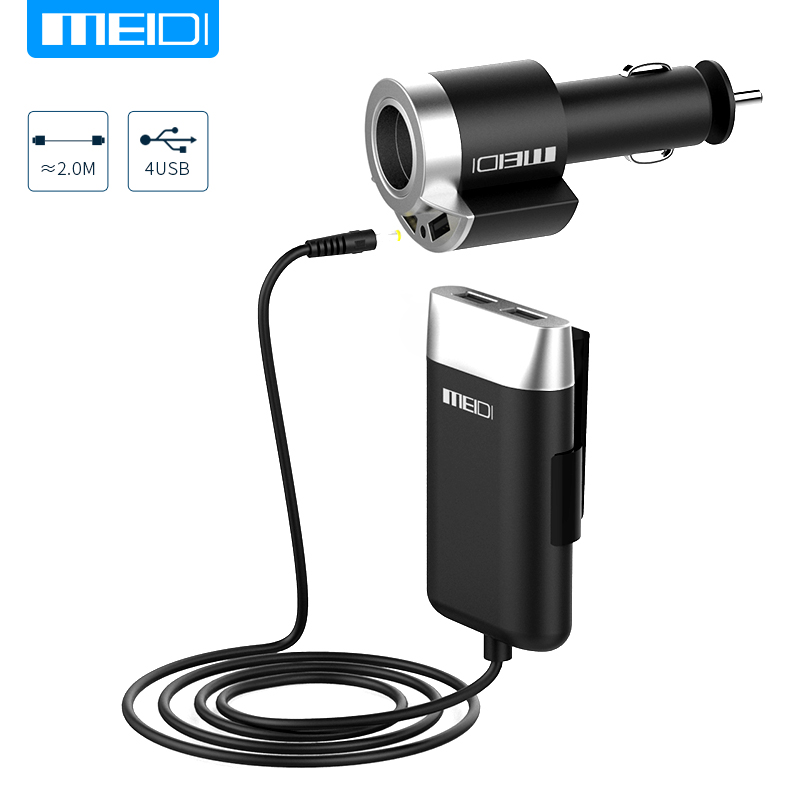 MEIDI USB Car Charger 5 Ports & Cigarette Lighter Adapter With 2M Cable for MPV Car Mobile Phone for Universal Portable