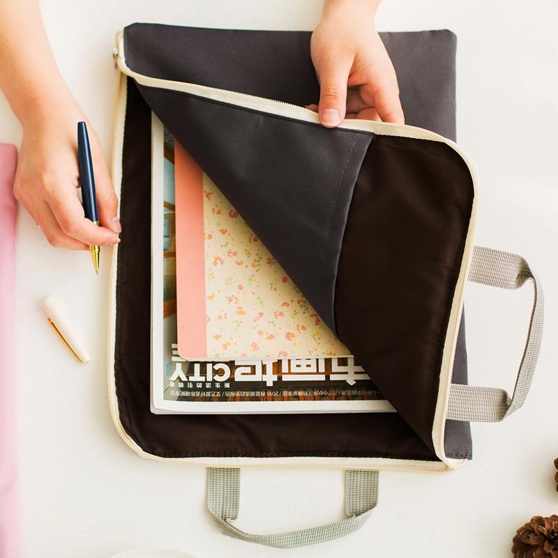 Korean Zipper A4 Big Capacity Document Bag Men Women Simple Solid Office Business Brifcase Storage File Folder