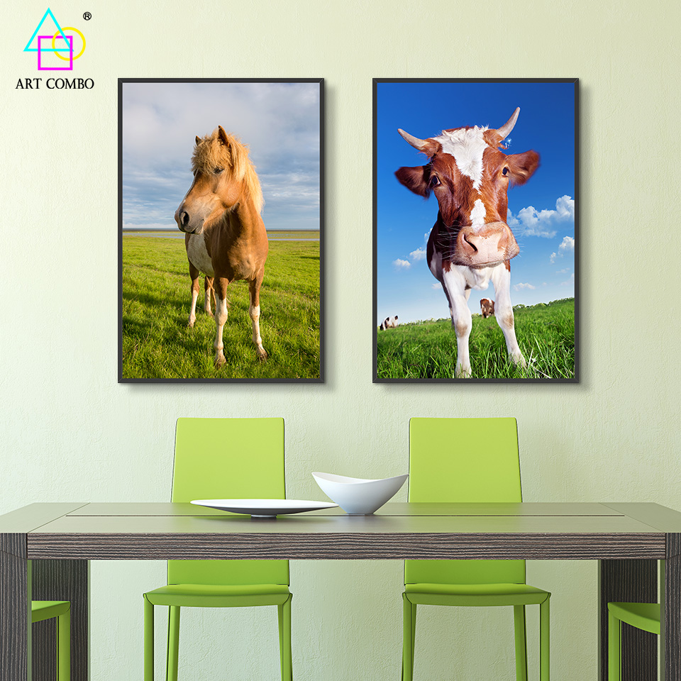 Cartoon Cute Animals Cow Horse Painting Home Decor Spray Canvas Printings Cotton Rectangle Picture One Piece