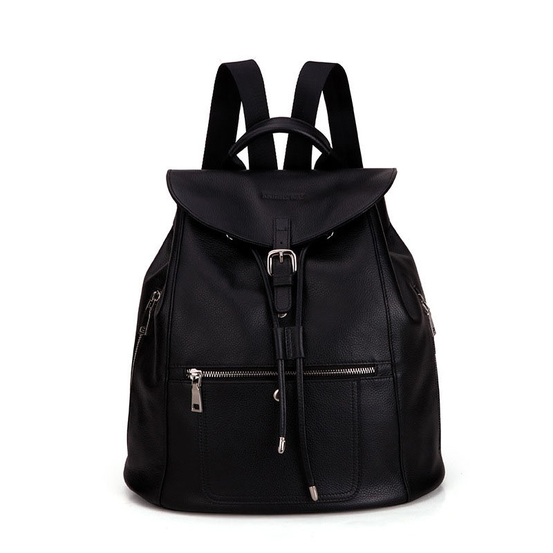 ФОТО 2017 New Black Backpack Women Fashion Genuine Leather Casual Travel Bag Multi Zipper Pockets Female Designer Cowhide Daypack