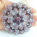 "3.15"" Costume Jewelry Silver Tone Bouquet Brooch Elegant Purple Rhinestone Crystal Flower Brooch Pin  EE05856C2"