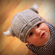 Baby Viking Hat, Viking Helmet,Children's Hat, Viking Photo Prop, Crochet Baby Hat