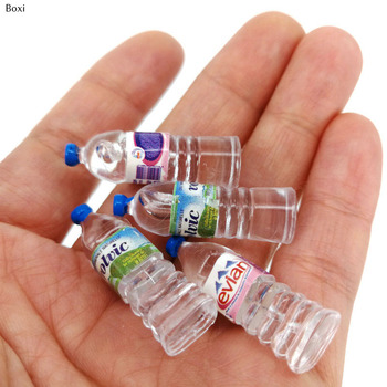 Hot Sale 1:12 Mini Simulation Mineral Water Bottle Resin Model Doll House Miniature Kids Gift Toys Home Decoration Accessories