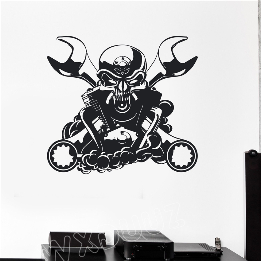 WXDUUZ Engine for Car Mechanic Garage Decor Skull Art Decor Sticker Wall Stickers Decor  ...
