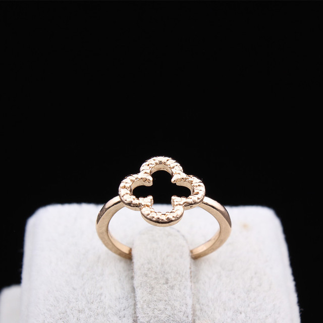 Gold Plated Four Leaf Clover Ring