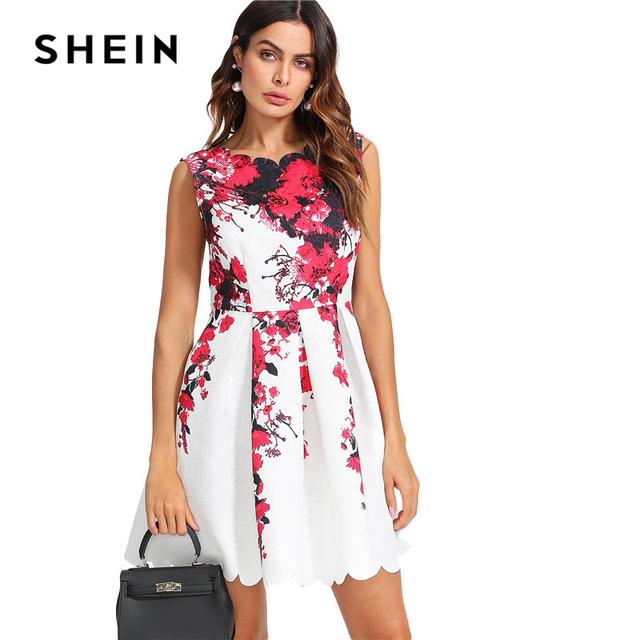 SHEIN Floral Print Pleated Dress Women Round Neck High Waist Sleeveless Dress 2018 Summer Zipper Elegant Party Short Dress