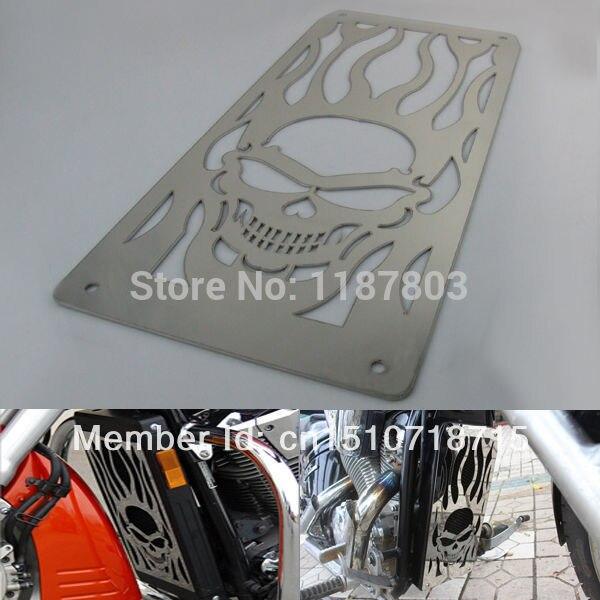 цена на Chrome Motorcycle Skull Radiator Grille Cover Stainless For Honda Fury Shadow VTX1800