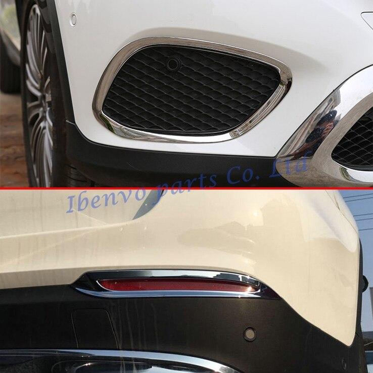 Стайлинга автомобилей Наборы глянцевый хром спереди + задний противотуманный свет лампы Крышка для автомобилей Mercedes-Benz GLC x253 2016 2017 Интимные ...
