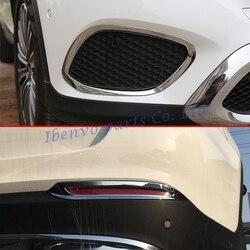 Zestawy do stylizacji samochodów błyszczący chrom przód + tylna lampa przeciwmgielna pokrowiec na samochód do mercedes benz GLC X253 2016 2017 akcesoria odlewnictwo wykończenia w Chromowane wykończenia od Samochody i motocykle na