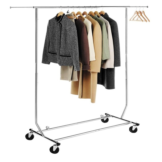 HLC Chrome Collapsible Adjustable Single Rail Rolling Commercial Folding  Garment Rack Clothing Rack Hanging Rack Xmas