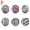 2016 Trendy 925 Sterling Silver PAVE Crystal BALL Charms Beads Fit Original Pandora Bracelet Pendant Authentic Jewelry PY1009