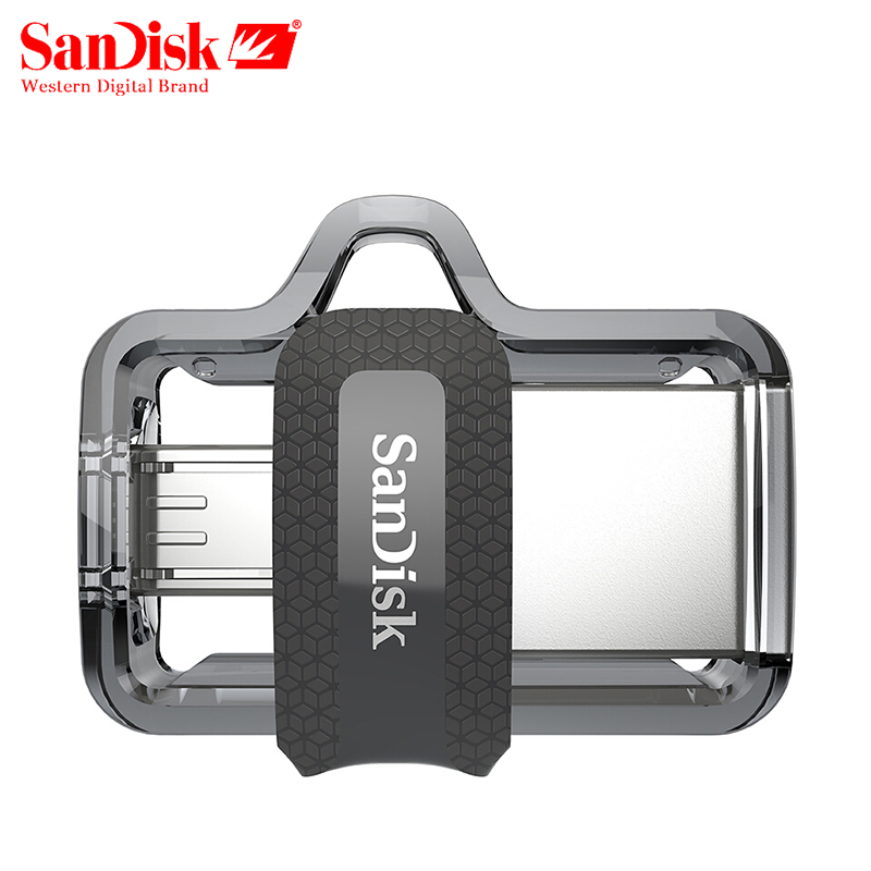 SanDisk OTG USB Flash Drive 32GB 16GB USB 3.0 Dual Mini Pen Drives 128GB 64GB PenDrives for PC and Android phones Free shipping