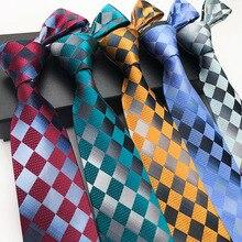 Fashion Men Luxury Silk Neck Tie Color Bright Shaped Plaid Tie Geometric  Mens Ties Wedding Party Formal Dress Gravatas