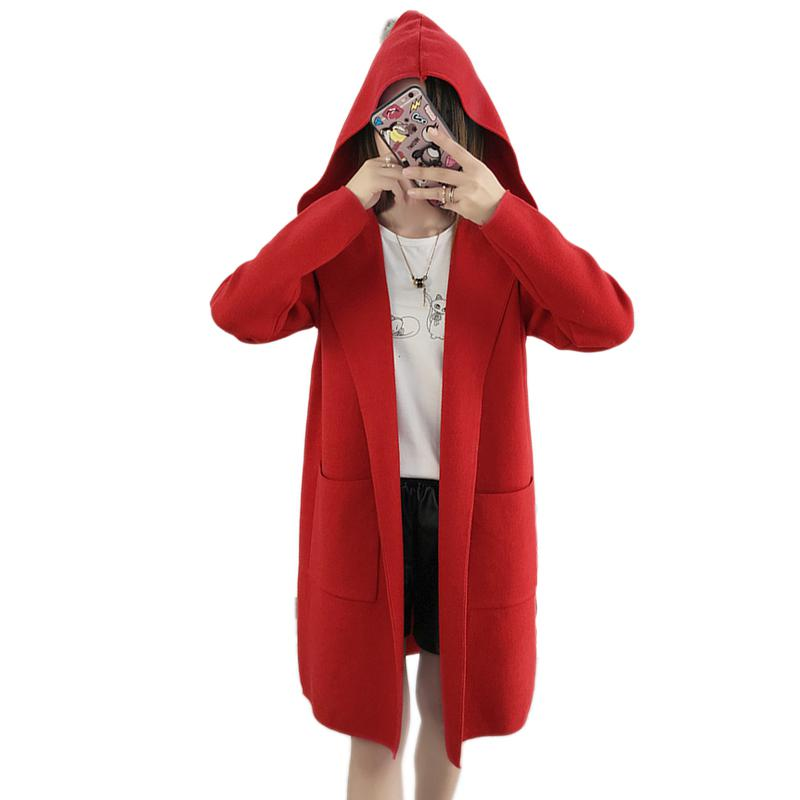 Ailegogo 2018 New Autumn Women Knitted Cardigans   Trench   Coat Medium Long Hooded Outwear Female Black Red Green