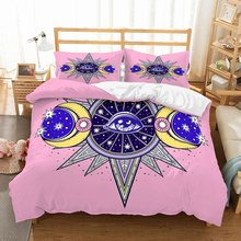 Dropshipping Bohemian Bedding Set Outer Space Moon Pattern Duvet Cover Set Eyes Bed Linen Set Pillowcase 2/3pcs Pink Bedclothes(China)