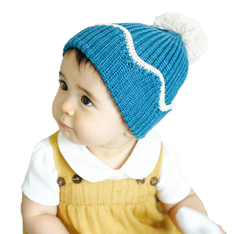 f597c6edbc0d 2016 nouvelle arrivée bébé chapeau avec Pom Pom mignon bordage Crochet chapeau  filles bonnet solide pour garçons enfants chaud Beanie nouveau - né ...