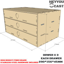 3 Drawers - 290 x 156 x 45mm MDF Drawer Box- Laser Cut Wood - MDF Corner Model Paints Rack Set(China)