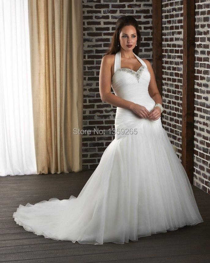 Hot Sale Plus Size Wedding Dresses Trumpet Halter Bride Gowns Beaded