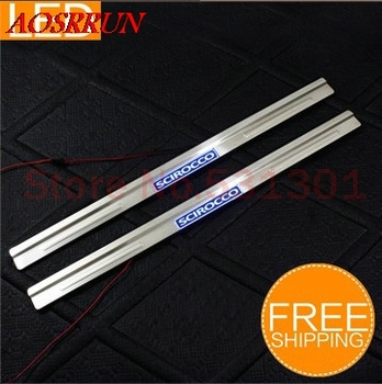LED Stainless Steel Door Sill Scuff Plate For Volkswagen VW Scirocco 2010-2013 car accessories car-styling Car Interior