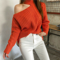 BGTEEVER Turtleneck One Shoulder Knitted Sweater Women Twisted Pullovers Female Sexy Hollow out Autumn Winter Sweater 2018