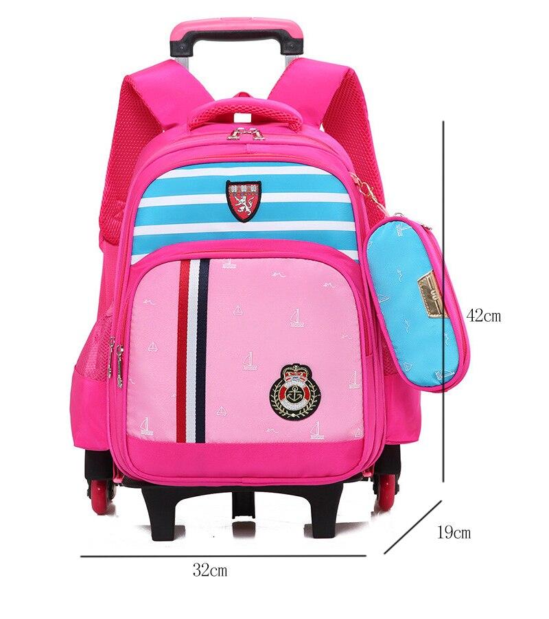 Школьные сумки тележки для девочек детей и школы ребенка рюкзак Съемный 6 колесных рюкзак с Бесплатная Карандаш сумка mochila
