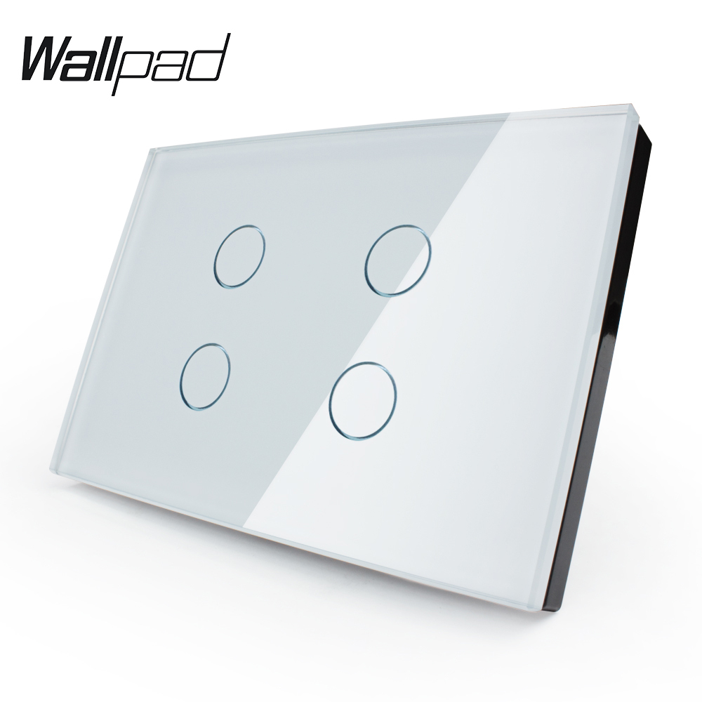 Manufacturer,Touch Switch, US standard, VL-C304-81, 4 Gang 1 Way Crystal Glass Panel, Wall Light Touch Switch+ LED Indicator smart home us au wall touch switch white crystal glass panel 1 gang 1 way power light wall touch switch used for led waterproof