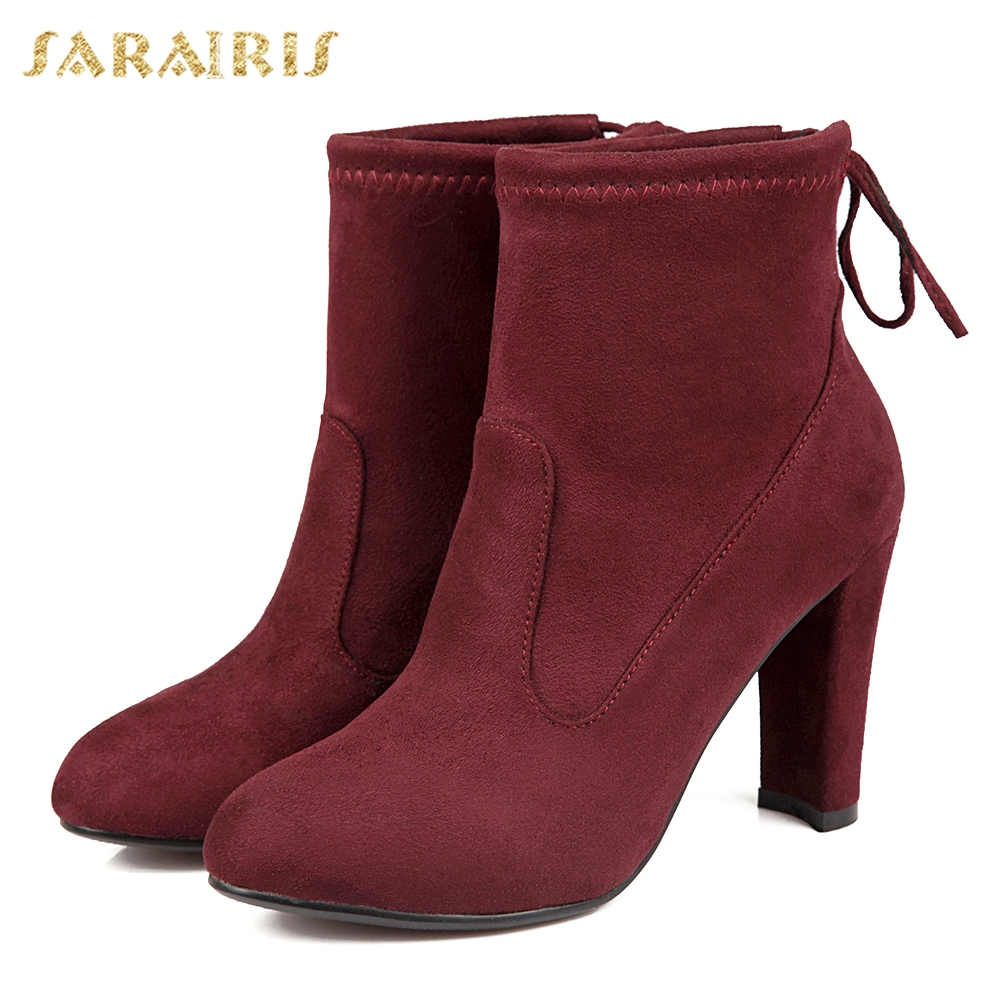 SARAIRIS 2018 Brand Design Big Size 34-43 Slip On womens Booties Fashion High Heels Date Party womens Shoes Ankle Boots