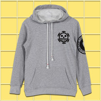 Anime One Piece Trafalgar D Water Law Men Women Boys Pullover Swet shirt Hoodie Winter Cotton Warm Cosplay Long Sleeve Gray