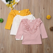 Baby Girl Clothes New Spring Autumn Casual Cotton Solid Color Sweet Cute Ruffle Long Sleeve Tops Kids Fashion Blouse 0-5Y