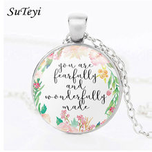 SUTEYI Sacred Bible Verses Necklace Wisdom Psalm Quote Pattern Round Glass Pendant Religious Trendy Jewelry Women Men Gift(China)