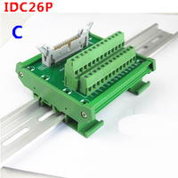 IDC26P male socket to 26P terminal block breakout board adapter PLC Relay terminal station DIN Rail Type