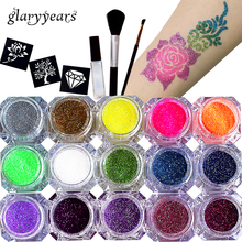 1 Set 15 Colors Glitter Powder Pigment Body Tattoo Paint Set Temporary Decal Fancy Women DIY Art Henna Stencil + Brush+ Glue Kit