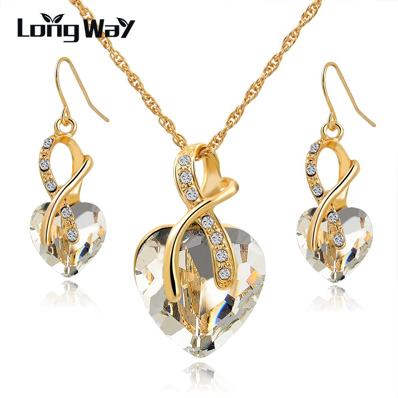 Longway austria kristal kalung anting set warna emas jantung kristal perhiasan set untuk wanita engagement set perhiasan set140044