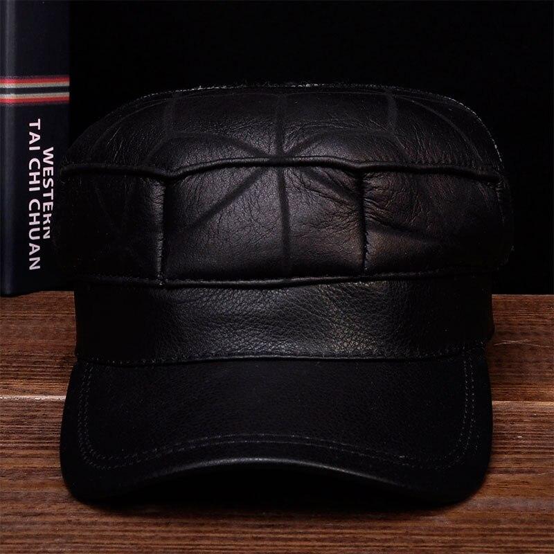 HL115 2018 hiver chaud russe vieux hommes un béret de fourrure armée oreille rabat chapeaux avec fausse fourrure à l'intérieur en cuir véritable casquette de baseball chapeau